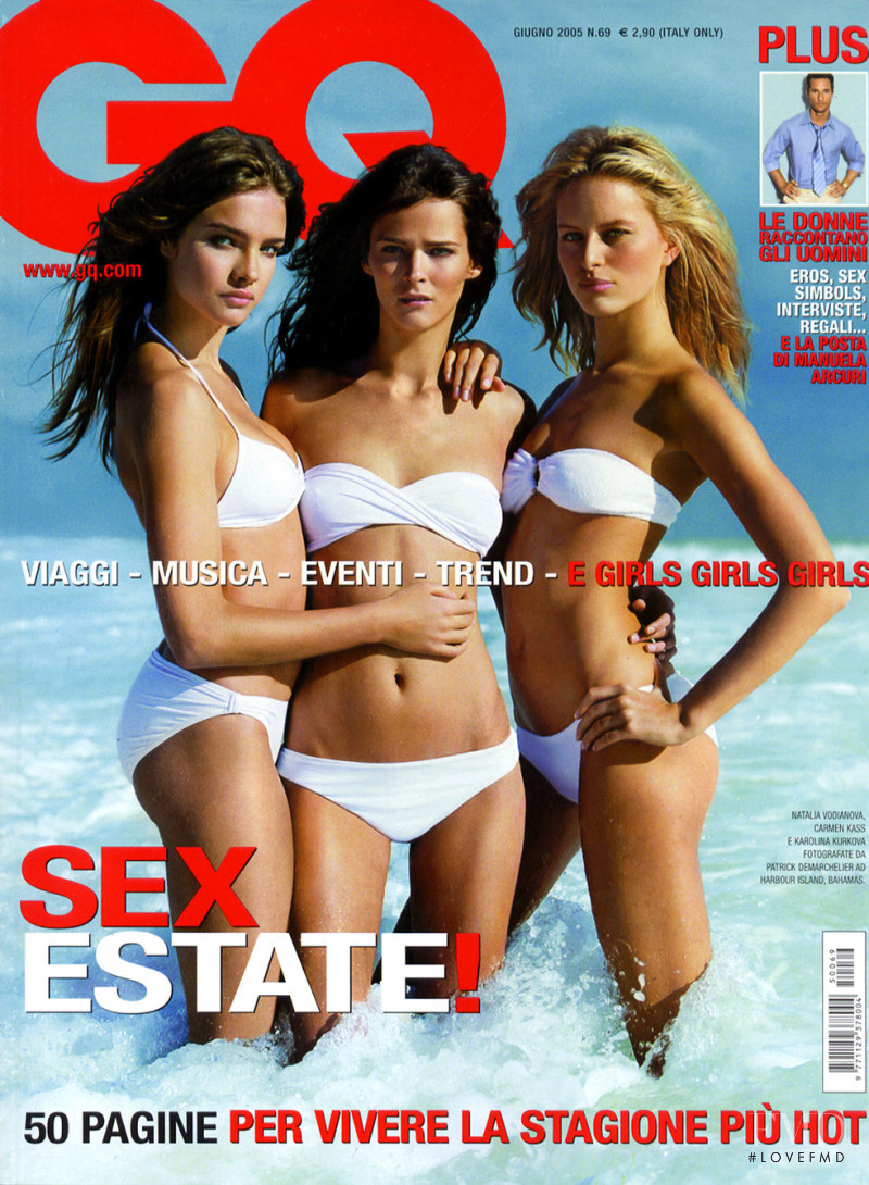 Carmen Kass, Karolina Kurkova, Natalia Vodianova featured on the GQ Spain cover from July 2005