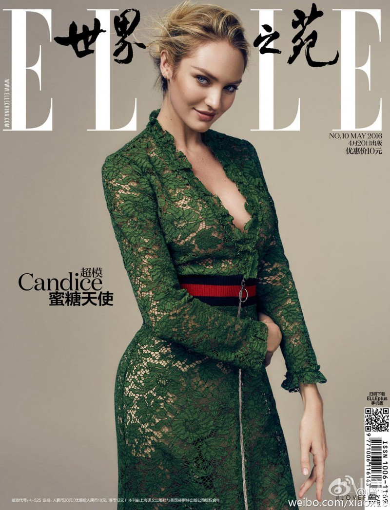 Candice Swanepoel featured on the Elle China cover from May 2016