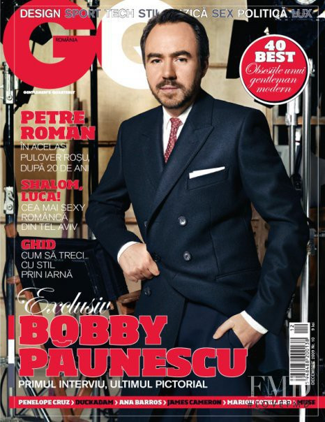 Bobby Paunescu featured on the GQ Romania cover from December 2009