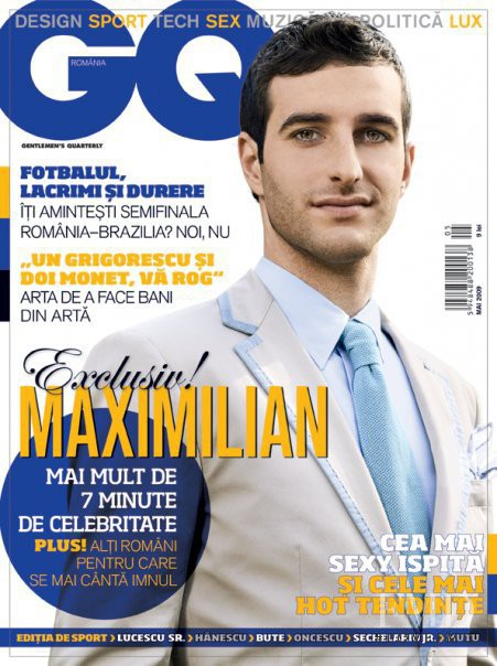 Maximilian Nicu featured on the GQ Romania cover from May 2009