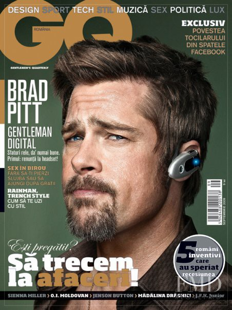 Brad Pitt featured on the GQ Romania cover from September 2009