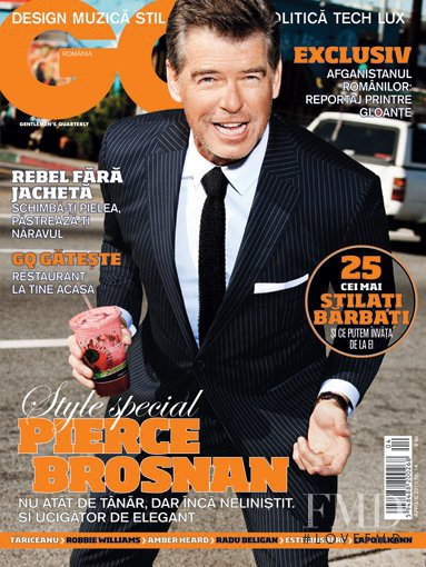 Pierce Brosnan featured on the GQ Romania cover from April 2010