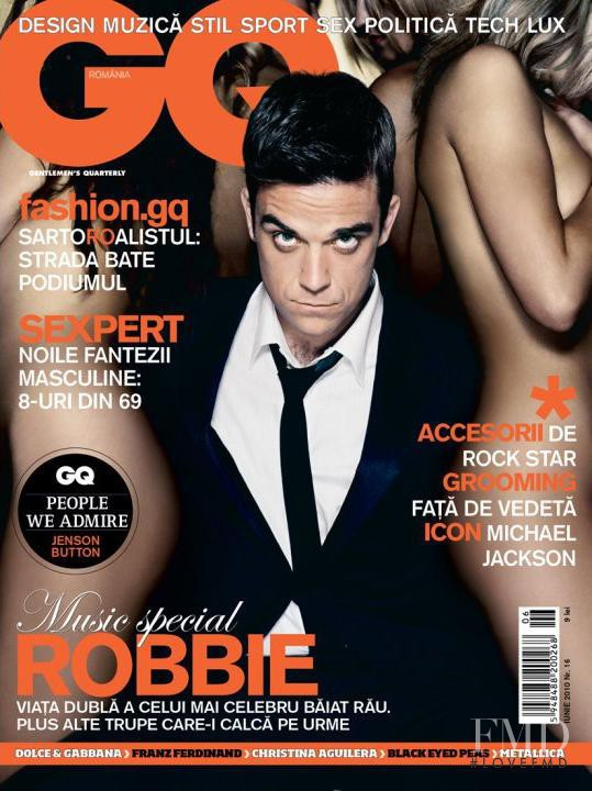 Robbie Williams featured on the GQ Romania cover from June 2010
