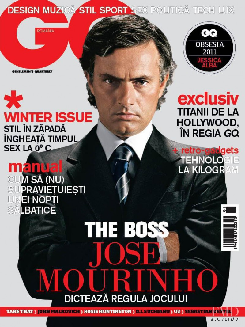 Jose Mourinho featured on the GQ Romania cover from January 2011