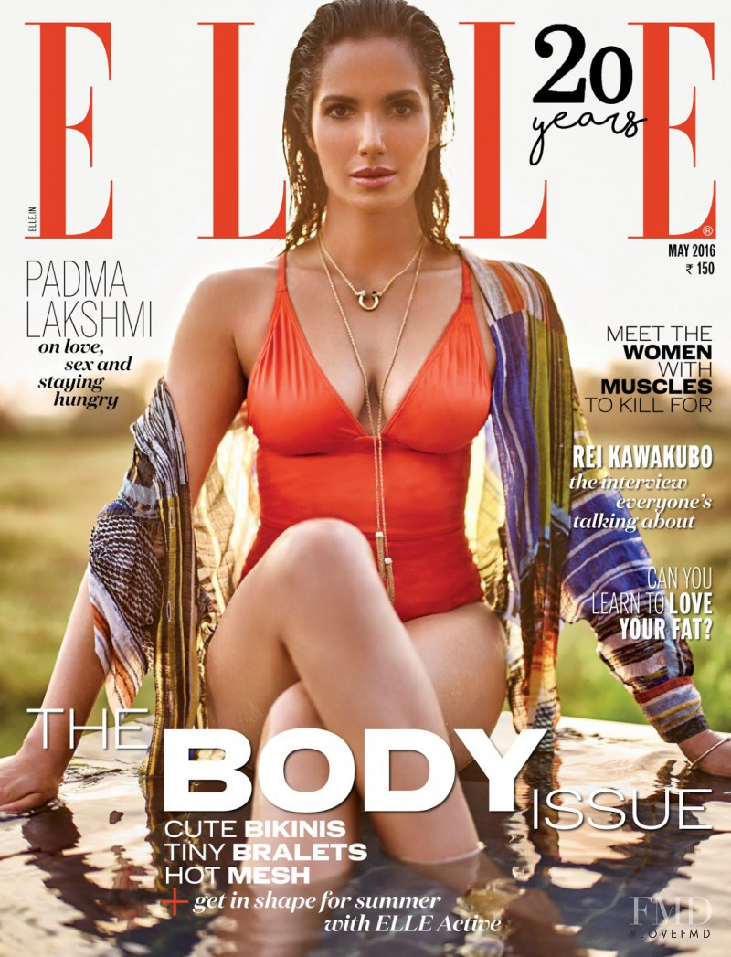 Padma Lakshmi featured on the Elle India cover from May 2016