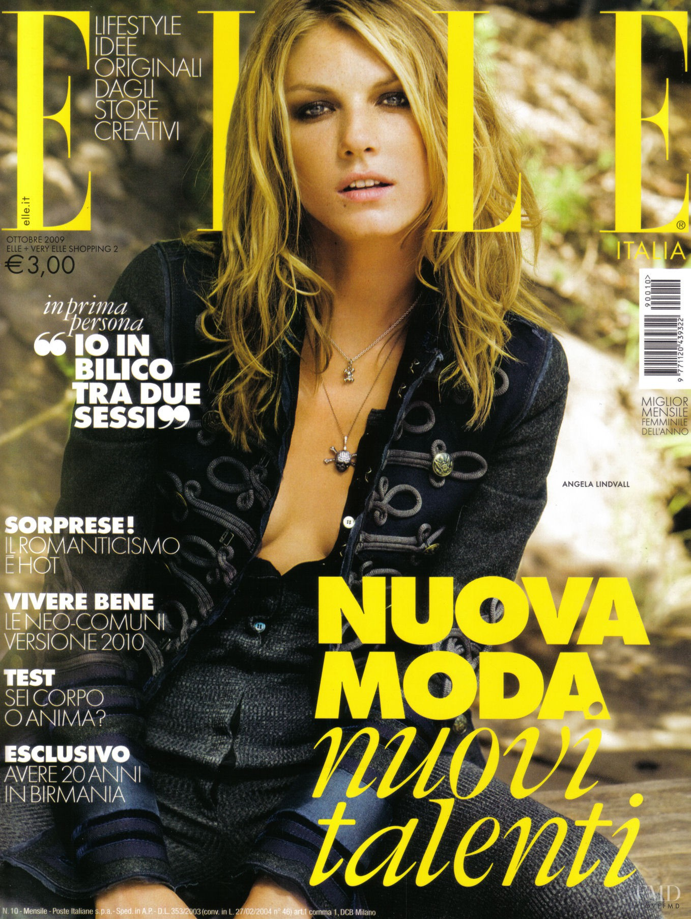 Cover of elle italy with angela lindvall october 2009 id for Elle italia