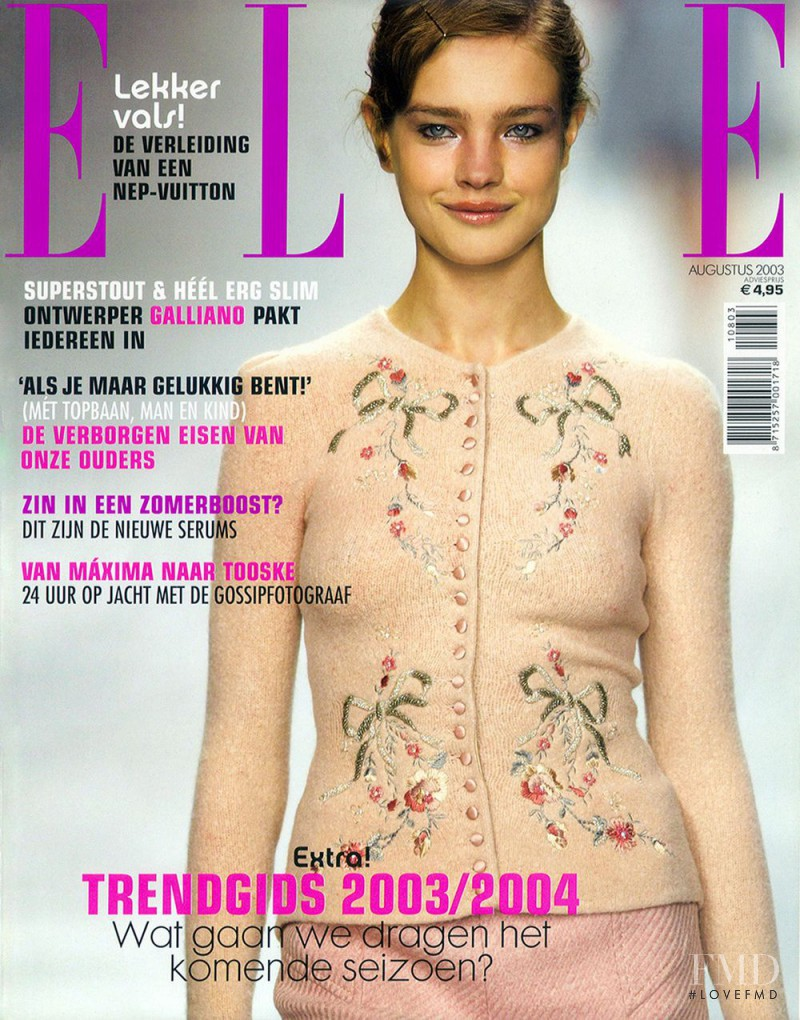 Natalia Vodianova featured on the Elle Netherlands cover from August 2003