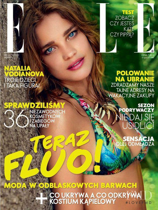 Natalia Vodianova featured on the Elle Poland cover from August 2011