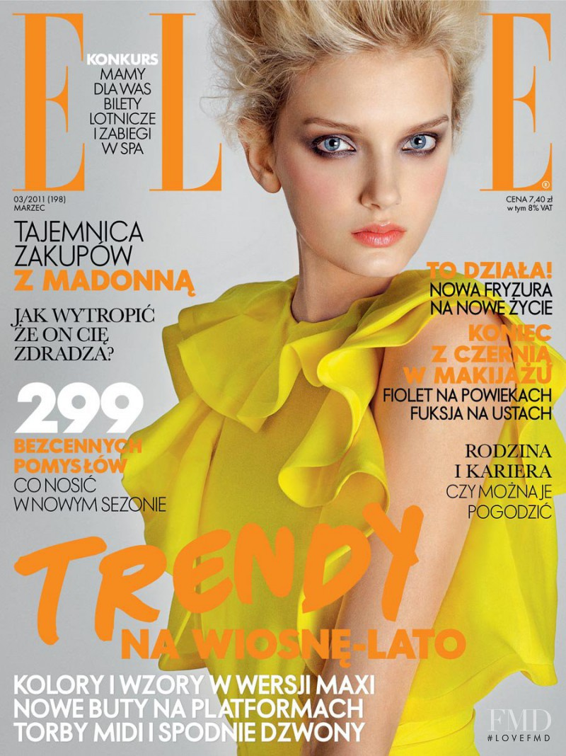 Lily Donaldson featured on the Elle Poland cover from March 2011