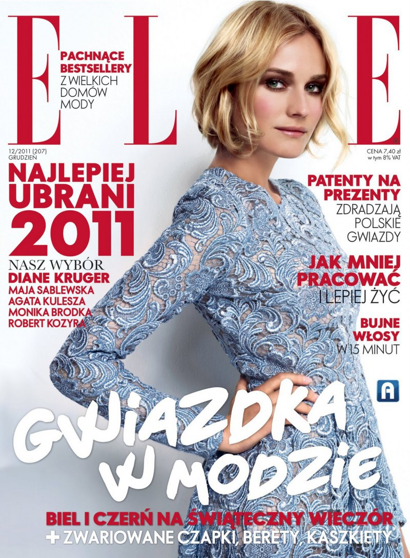 Diane Heidkruger featured on the Elle Poland cover from December 2011