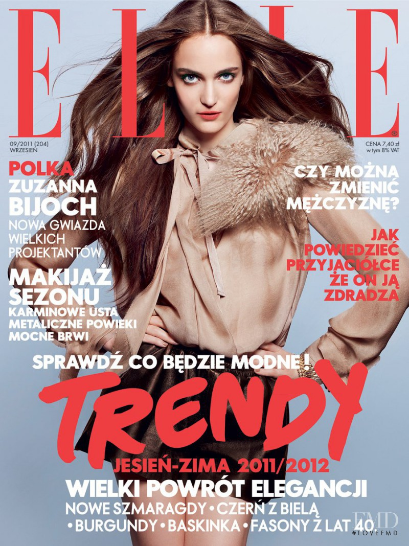 Zuzanna Bijoch featured on the Elle Poland cover from September 2011