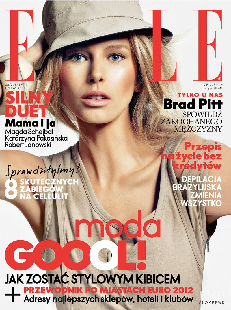 Hana Soukupova featured on the Elle Poland cover from June 2012