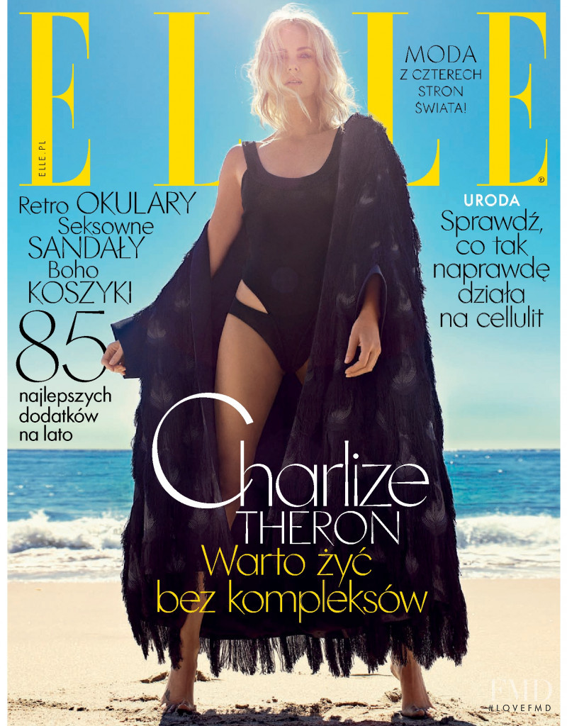 Charlize Theron featured on the Elle Poland cover from June 2018
