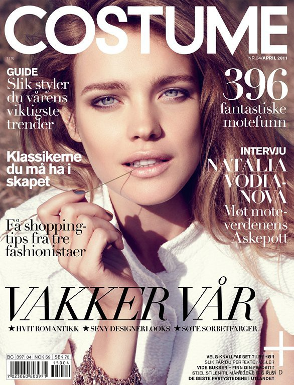 Natalia Vodianova featured on the Costume Norway cover from April 2011