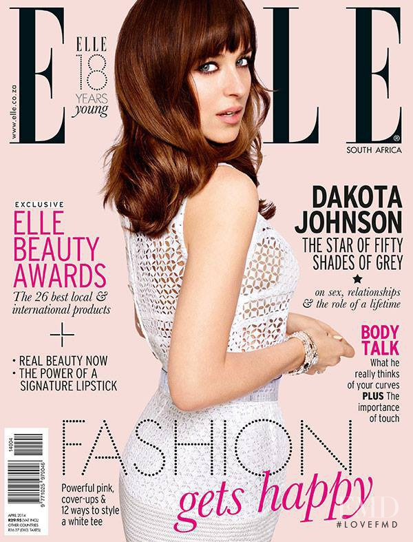 Dakota Johnson featured on the Elle South Africa cover from April 2014