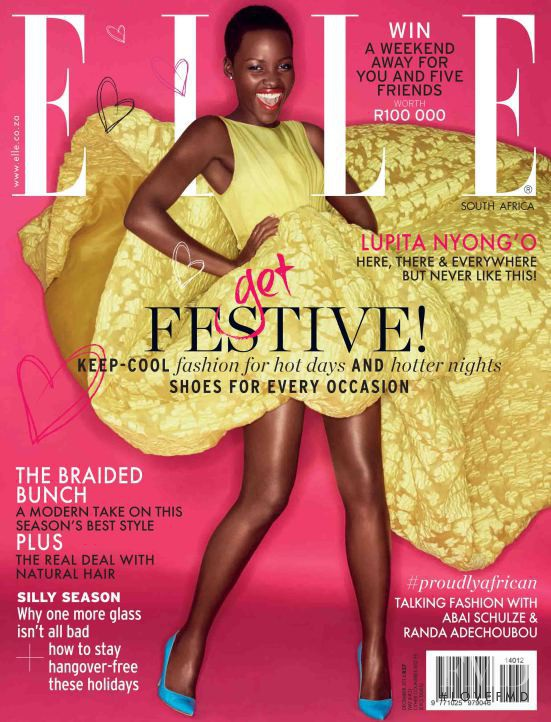 Lupita Nyong\'o featured on the Elle South Africa cover from December 2014