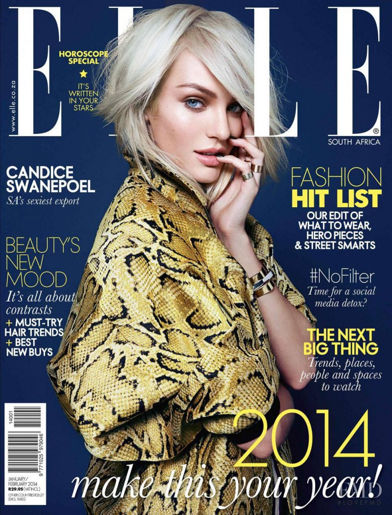 Candice Swanepoel featured on the Elle South Africa cover from January 2014