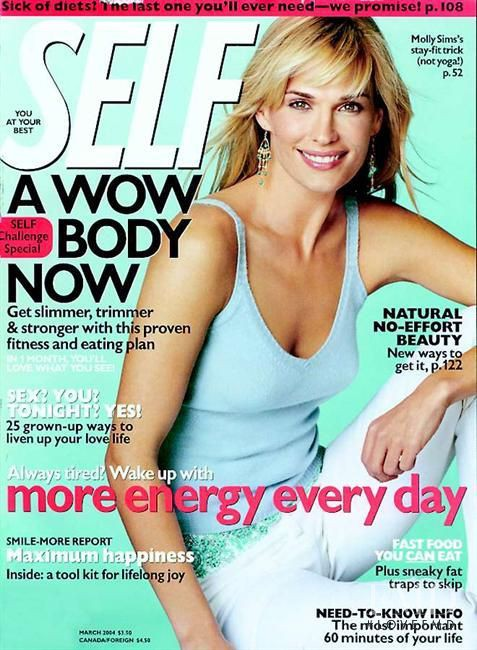 Molly Sims featured on the SELF cover from March 2004