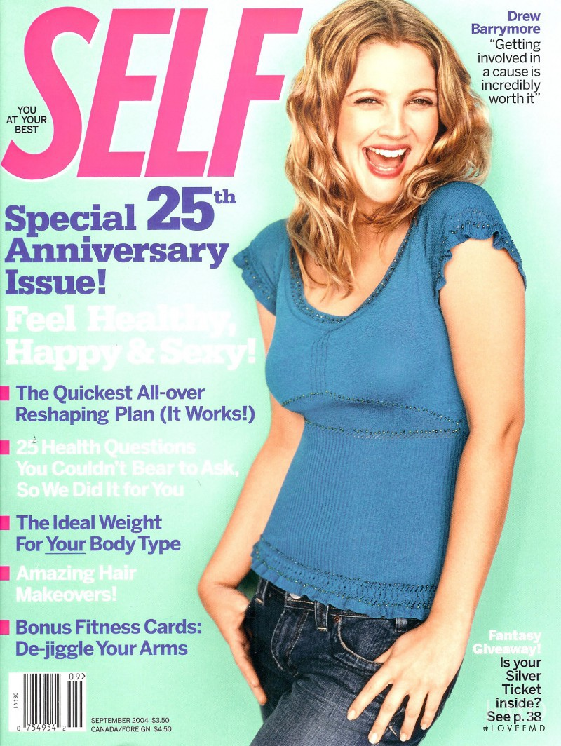 Drew Barrymore featured on the SELF cover from September 2004