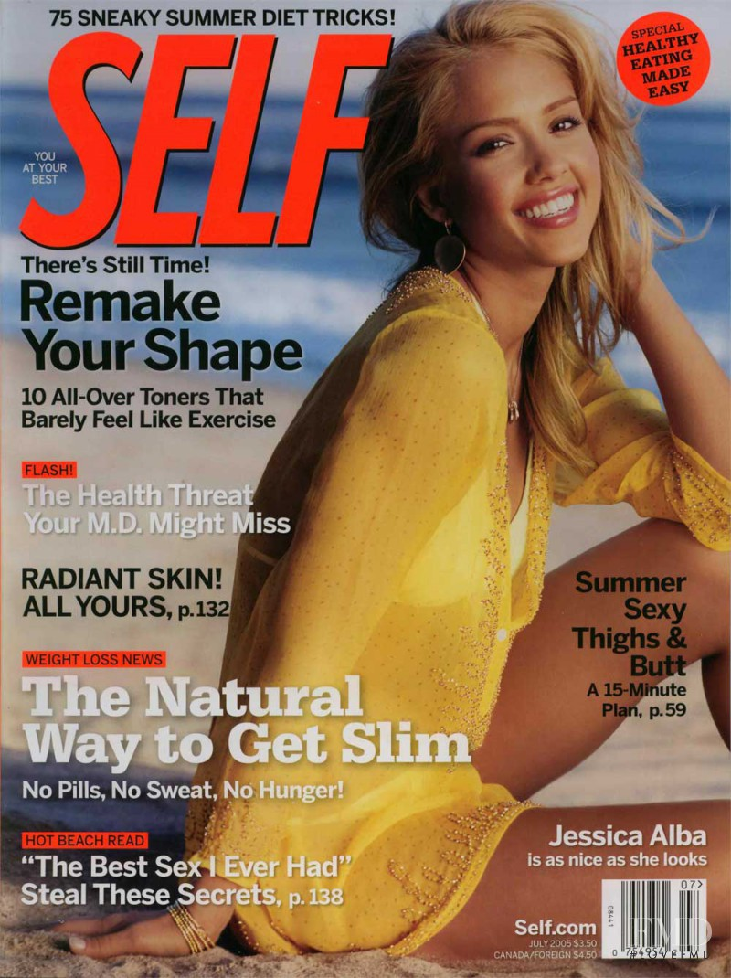 Jessica Alba featured on the SELF cover from July 2005