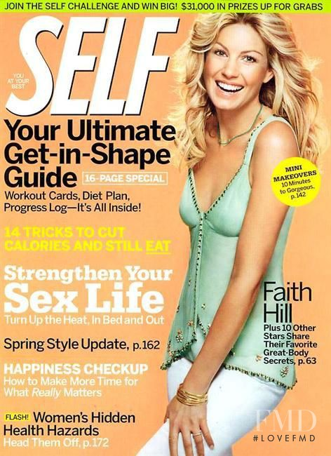 Faith Hill featured on the SELF cover from March 2005