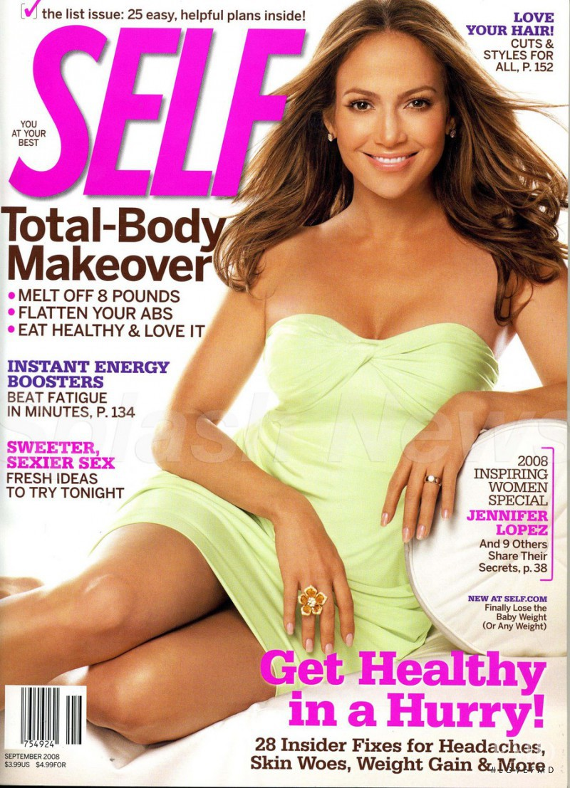 Jennifer Lopez featured on the SELF cover from September 2008