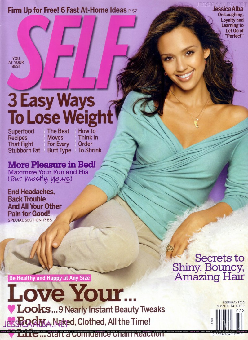Jessica Alba featured on the SELF cover from February 2010