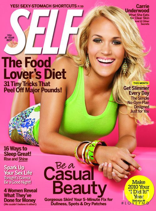 Carrie Underwood featured on the SELF cover from January 2010