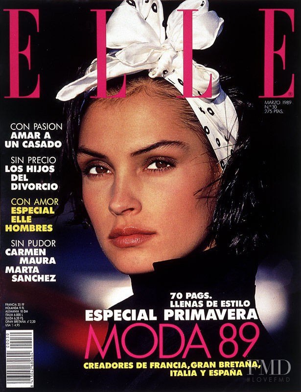 Famke Janssen featured on the Elle Spain cover from March 1989
