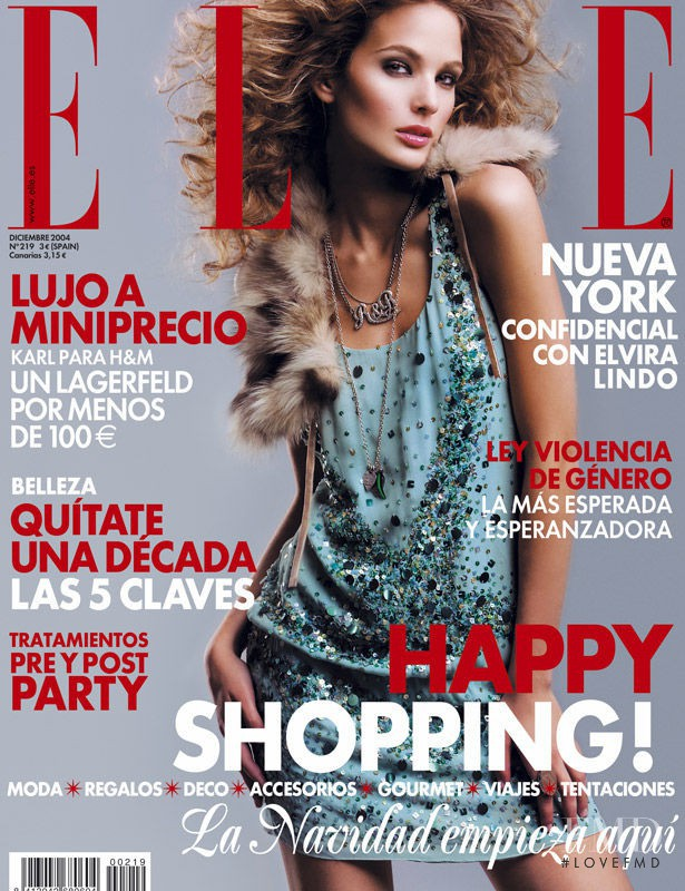 Marta Español featured on the Elle Spain cover from December 2004