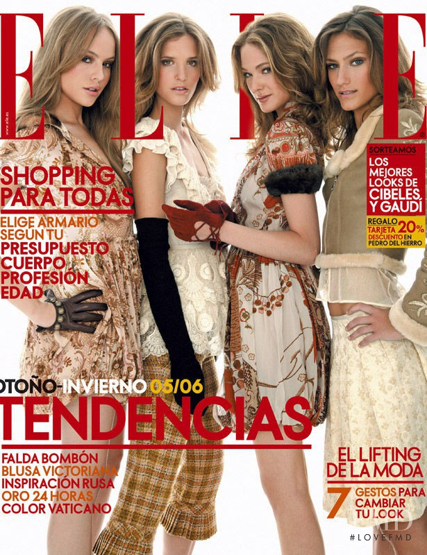 Clara Mas, Esmeralda Moya, Marta Español featured on the Elle Spain cover from September 2005
