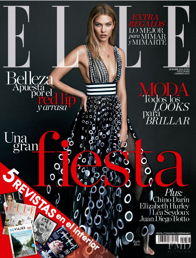 Karlie Kloss featured on the Elle Spain cover from December 2016