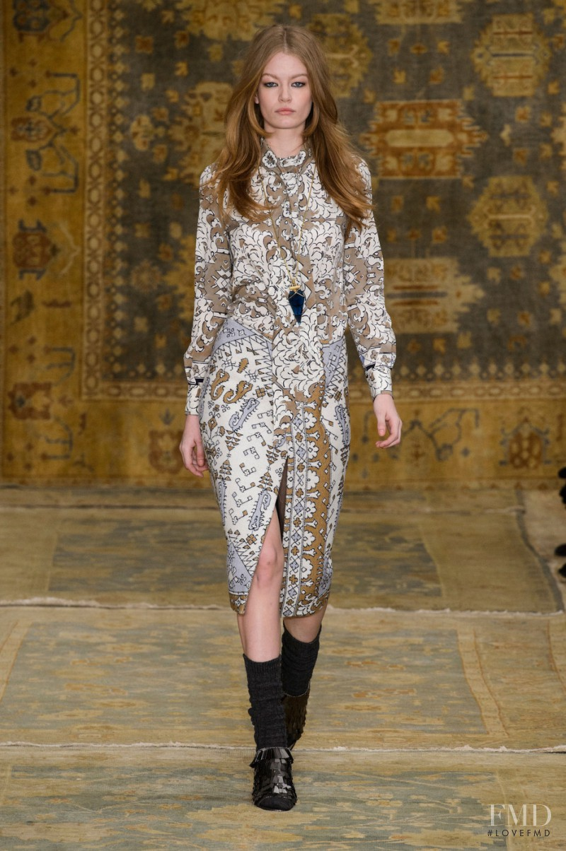Hollie May Saker featured in  the Tory Burch fashion show for Autumn/Winter 2015
