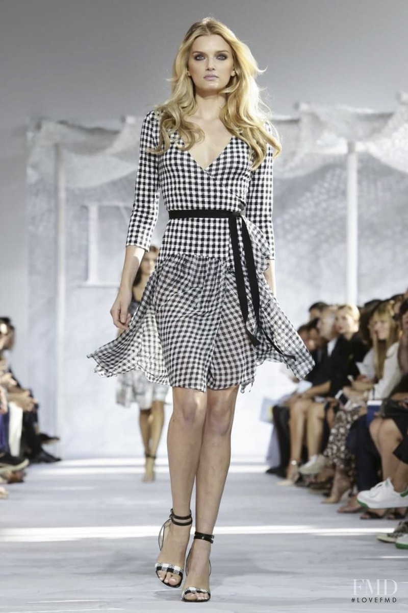 Lily Donaldson featured in  the Diane Von F�rstenberg fashion show for Spring/Summer 2015