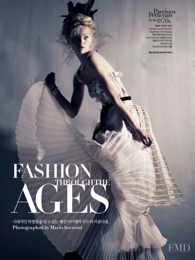 Sasha Pivovarova featured in Fashion Through the Ages, November 2007