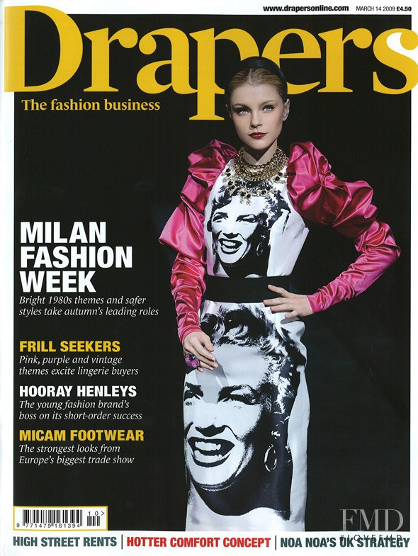 Jessica Stam featured on the Drapers cover from March 2009