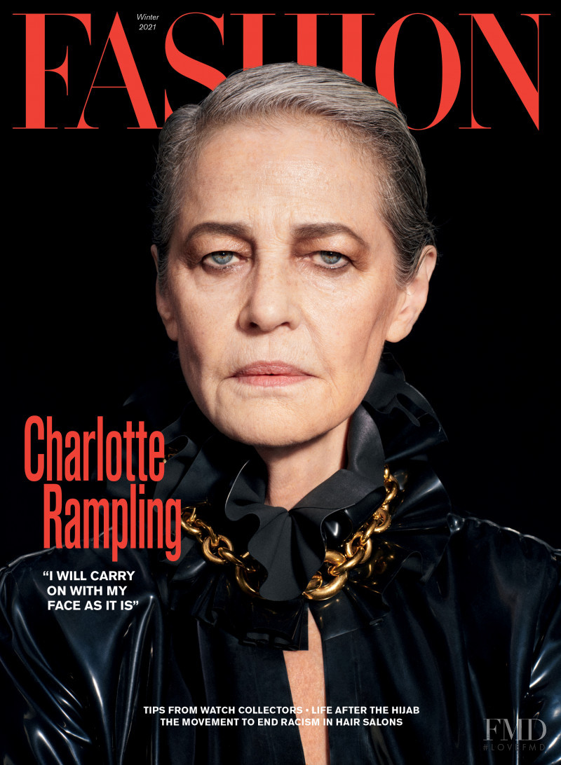 Charlotte Rampling featured on the Fashion cover from December 2020