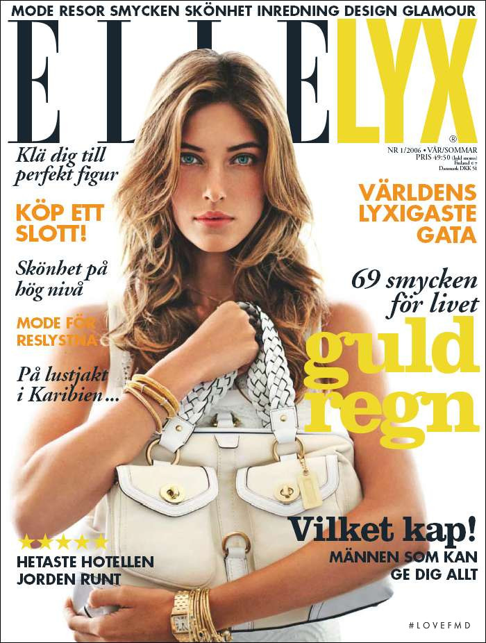 Nadejda Savcova featured on the Elle Sweden cover from February 2006