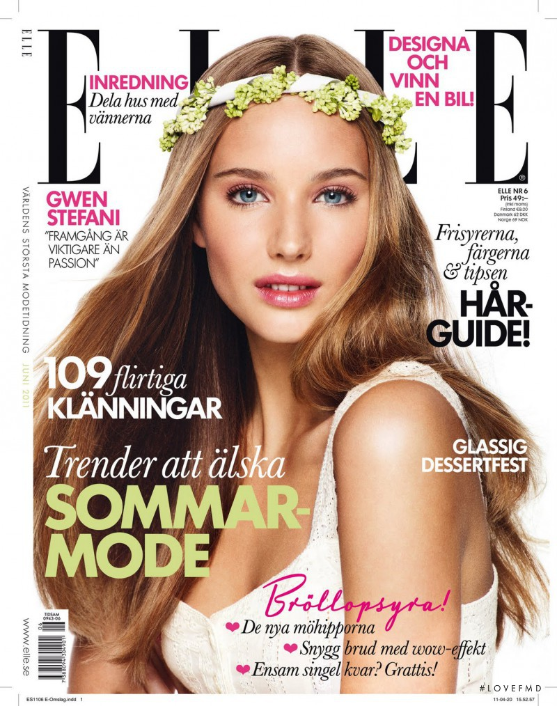 Siri Crafoord featured on the Elle Sweden cover from June 2011