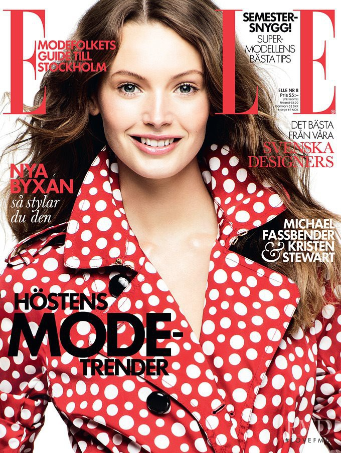 Mona Johannesson featured on the Elle Sweden cover from August 2012