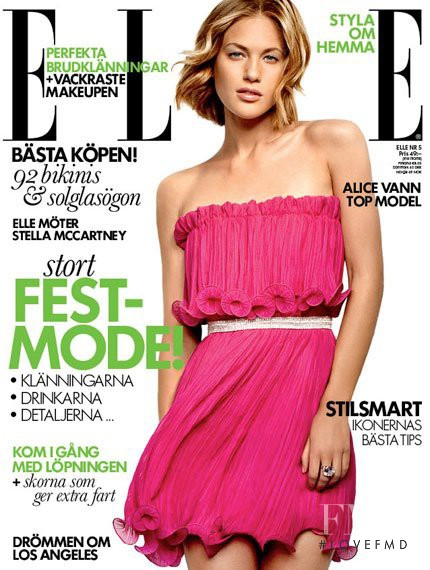 Alice Vann featured on the Elle Sweden cover from May 2012