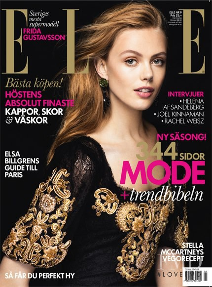 Frida Gustavsson featured on the Elle Sweden cover from September 2012