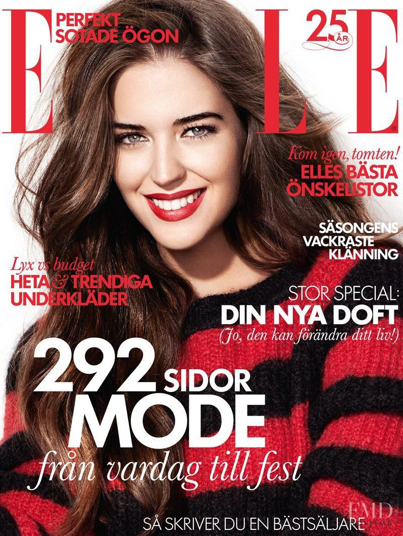Clara Alonso featured on the Elle Sweden cover from December 2013