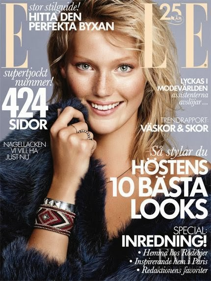 Maja Mayskär featured on the Elle Sweden cover from October 2013