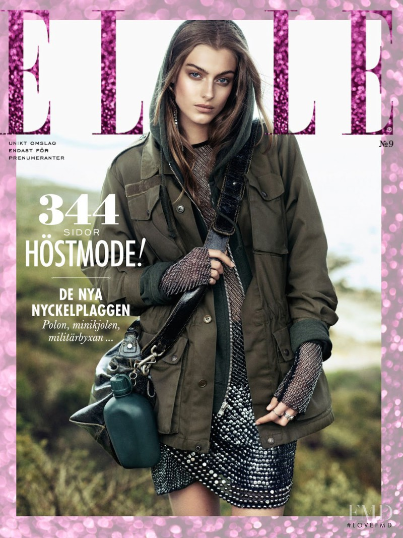 Lone Praesto featured on the Elle Sweden cover from September 2014