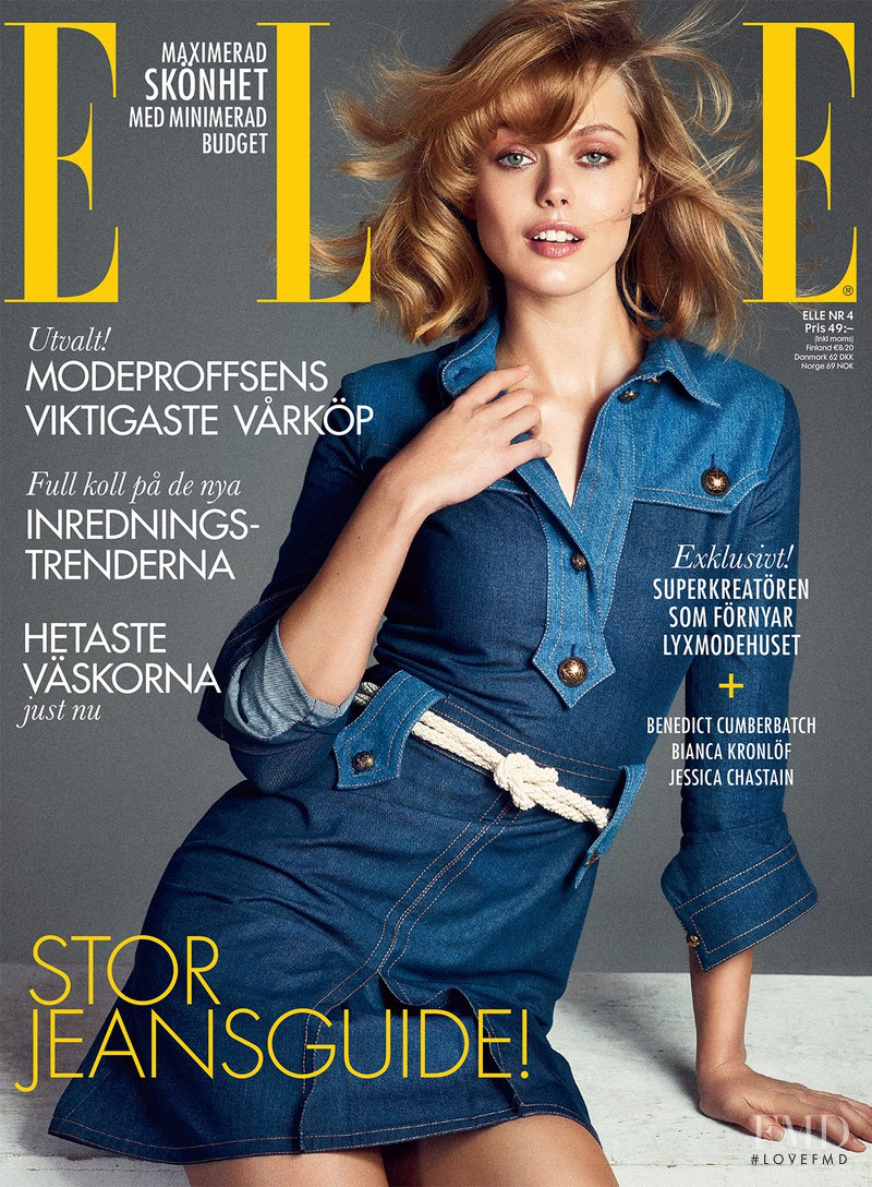 Frida Gustavsson featured on the Elle Sweden cover from April 2015
