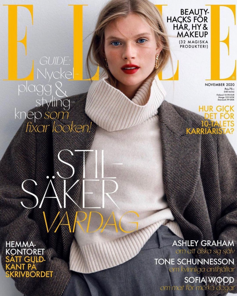 Sara Eirud featured on the Elle Sweden cover from November 2020