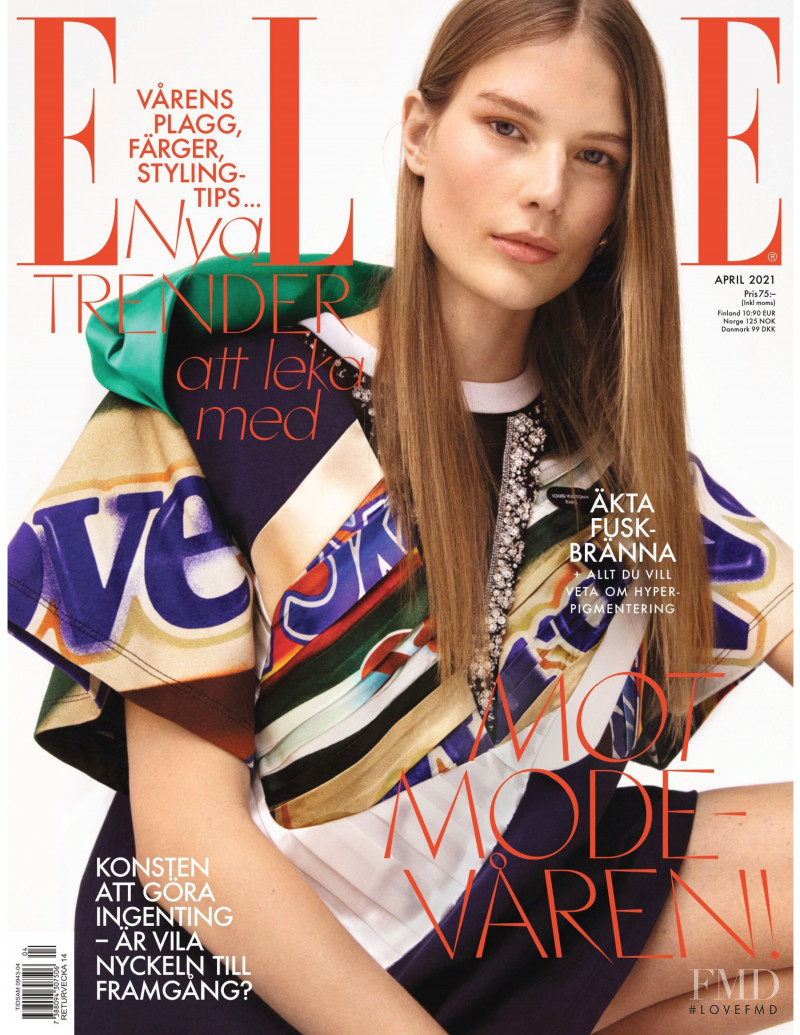 Adela Stenberg featured on the Elle Sweden cover from April 2021