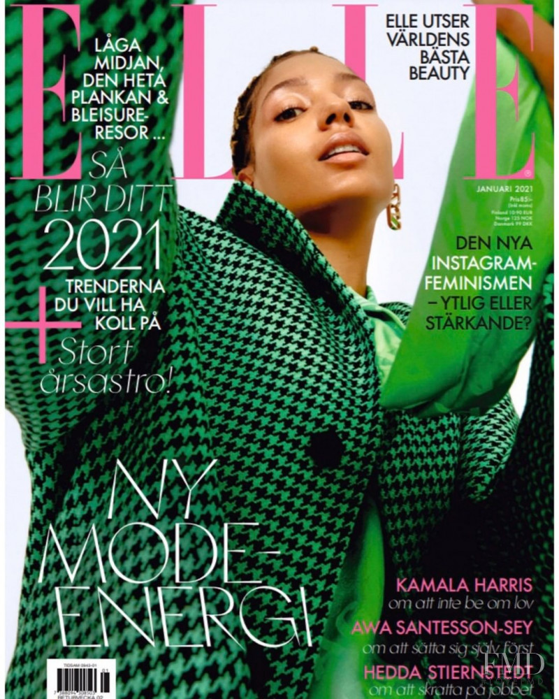 Carmel Roger featured on the Elle Sweden cover from January 2021