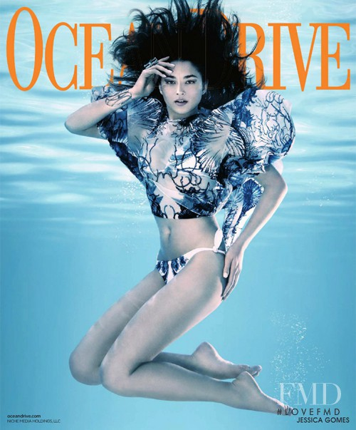 Jessica Gomes featured on the Ocean Drive cover from July 2012